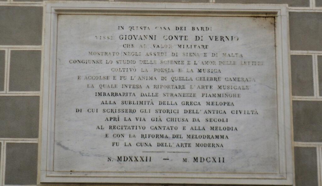 Placa a Giovanni de' Bardi