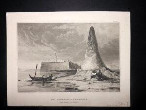 Antiguo Grabado de la Torre de las Calaveras