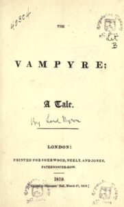Portada del Vampiro de Polidori como obra de Lord Byron