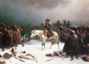 Napoleon retirandose de Moscu