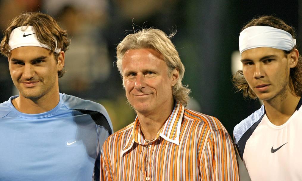 Nadal y Federer con Bjon Borg