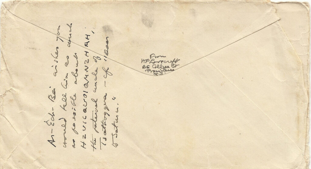 Carta de Lovecraft a CAS