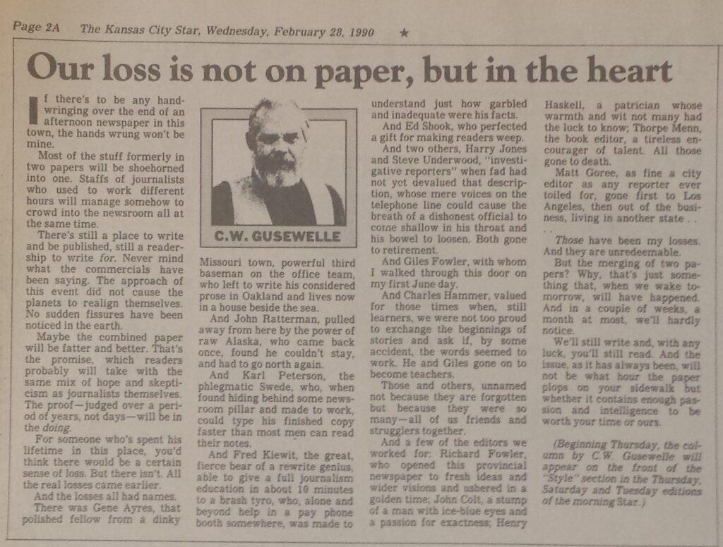 Noticia tras la desaparición del Kansas City Times